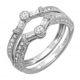 0.55 Carat (ctw) 10k White Gold Round & Baguette Diamond Ladies Anniversary Wedding Enhancer Guard Band 1/2 CT