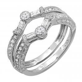 0.55 Carat (ctw) 18k White Gold Round & Baguette Diamond Ladies Anniversary Wedding Enhancer Guard Band 1/2 CT