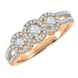 0.50 Carat (ctw) 10k Rose Gold Round Diamond Ladies 3 Stone Split Shank Engagement Bridal Ring 1/2 CT