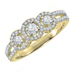 0.50 Carat (ctw) 10K Yellow Gold Round Diamond Ladies 3 Stone Split Shank Engagement Bridal Ring 1/2 CT