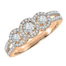 0.50 Carat (ctw) 18k Rose Gold Round Diamond Ladies 3 Stone Split Shank Engagement Bridal Ring 1/2 CT