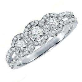 0.50 Carat (ctw) 18k White Gold Round Diamond Ladies 3 Stone Split Shank Engagement Bridal Ring 1/2 CT