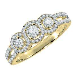 0.50 Carat (ctw) 18K Yellow Gold Round Diamond Ladies 3 Stone Split Shank Engagement Bridal Ring 1/2 CT