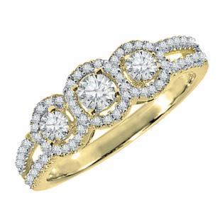 0.50 Carat (ctw) 14K Yellow Gold Round Diamond Ladies 3 Stone Split Shank Engagement Bridal Ring 1/2 CT