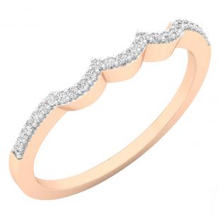 0.10 Carat (ctw) 18K Rose Gold Round Cut White Diamond Ladies Anniversary Wedding Stackable Band Contour Guard Ring 1/10 CT