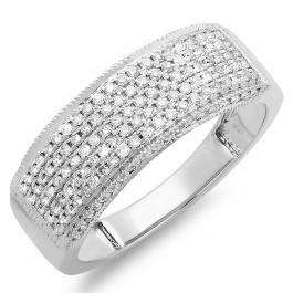 0.50 Carat (ctw) 14k White Gold Round Real Diamond Ladies Anniversary Band Wedding Ring 1/2 CT
