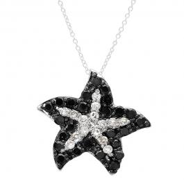 0.36 Carat (ctw) 10k White Gold Round Black and White Diamond Ladies Starfish Pendant 1/3 CT