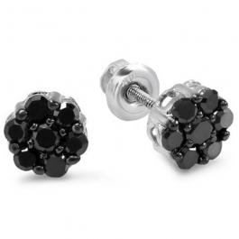 0.40 Carat (ctw) 10K White Gold Black Round Cut Diamond Cluster Flower Stud Earrings