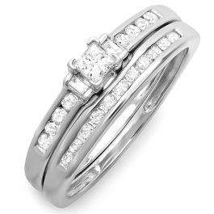 0.50 Carat (ctw) 10k White Gold Brilliant Round Princess & Baguette Cut Diamond Ladies Bridal Engagement Ring Set 1/2 CT