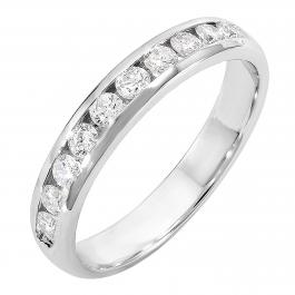0.55 Carat (ctw) 14k White Gold Round Diamond Men's Anniversary Wedding Band Ring 1/2 CT