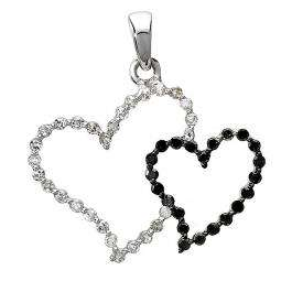 0.23 Carat (ctw) 10k White Gold Round Black and White Diamond Ladies Double Heart Pendant 1/4 CT