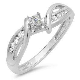 0.25 Carat (ctw) 10k White Gold Princess and Round Diamond Ladies Crossover Split Shank Bridal Promise Engagement Ring 1/4 CT