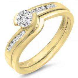 0.50 Carat (ctw) 14K Yellow Gold Round Diamond Ladies Bridal Engagement Ring Set Matching Band 1/2 CT