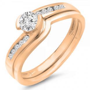 0.50 Carat (ctw) 18K Rose Gold Round Diamond Ladies Bridal Engagement Ring Set Matching Band 1/2 CT