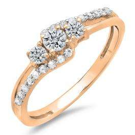 0.45 Carat (ctw) 10K Rose Gold Round Diamond Ladies 3 Stone Bridal Engagement Promise Ring 1/2 CT