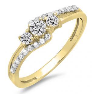 0.45 Carat (ctw) 14K Yellow Gold Round Diamond Ladies 3 Stone Bridal Engagement Promise Ring 1/2 CT