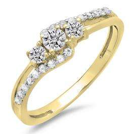 0.45 Carat (ctw) 18K Yellow Gold Round Diamond Ladies 3 Stone Bridal Engagement Promise Ring 1/2 CT