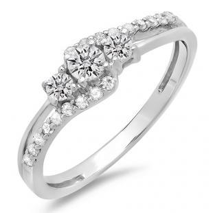 0.45 Carat (ctw) 10K White Gold Round Diamond Ladies 3 Stone Bridal Engagement Promise Ring 1/2 CT