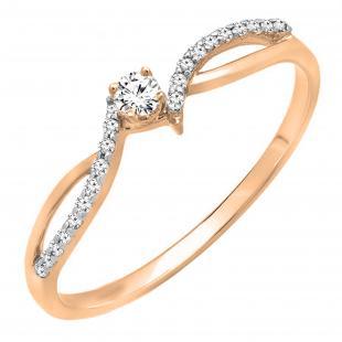 0.15 Carat (ctw) 18K Rose Gold Round Diamond Ladies Crossover Split Shank Bridal Promise Engagement Ring