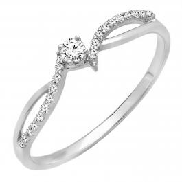 0.15 Carat (ctw) 18K White Gold Round Diamond Ladies Crossover Split Shank Bridal Promise Engagement Ring