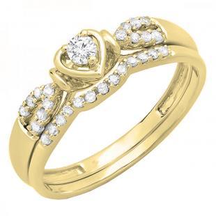 0.25 Carat (ctw) 10k Yellow Gold Round Diamond Ladies Heart Shaped Bridal Engagement Ring Matching Band Set 1/4 CT