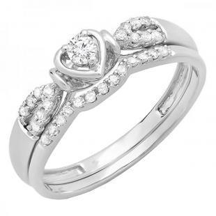 0.25 Carat (ctw) 14k White Gold Round Diamond Ladies Heart Shaped Bridal Engagement Ring Matching Band Set 1/4 CT
