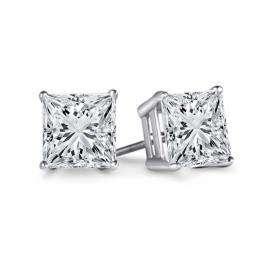 IGI Certified 1.06 Carat (ctw) 14K White Gold Princess Cut White Diamond Ladies Stud Earrings 1 CT
