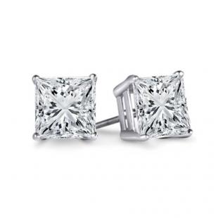 IGI Certified 1.06 Carat (ctw) 14K White Gold Princess Cut White Diamond Ladies Stud Earrings 1 CT