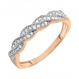0.25 Carat (ctw) 14k Rose Gold Round Diamond Ladies Anniversary Wedding Stackable Band Swirl Ring 1/4 CT