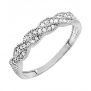 0.25 Carat (ctw) 10k White Gold Round Diamond Ladies Anniversary Wedding Stackable Band Swirl Ring 1/4 CT