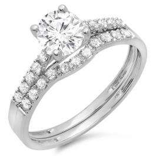 1.25 Carat (ctw) 10K White Gold Round White Diamond Ladies Bridal Engagement Ring Matching Band Wedding Sets 1 1/4 CT
