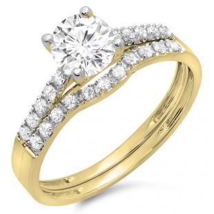 1.25 Carat (ctw) 14K Yellow Gold Round White Diamond Ladies Bridal Engagement Ring Matching Band Wedding Sets 1 1/4 CT