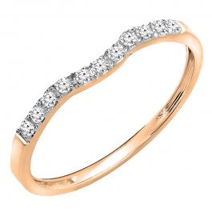 0.15 Carat (ctw) 10K Rose Gold Round Cut Diamond Ladies Anniversary Wedding Stackable Contour Guard Band