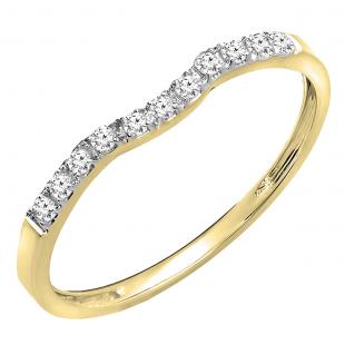0.15 Carat (ctw) 14K Yellow Gold Round Cut Diamond Ladies Anniversary Wedding Stackable Contour Guard Band
