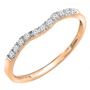 0.15 Carat (ctw) 18K Rose Gold Round Cut Diamond Ladies Anniversary Wedding Stackable Contour Guard Band