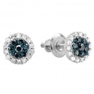 0.30 Carat (ctw) 18k White Gold Blue & White Diamond Ladies Cluster Flower Stud Earrings 1/3 CT