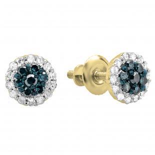 0.30 Carat (ctw) 18K Yellow Gold Blue & White Diamond Ladies Cluster Flower Stud Earrings 1/3 CT