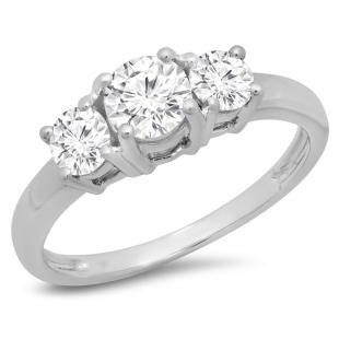 1.00 Carat (ctw) 10k White Gold Round Cut Diamond Ladies 3 Stone Bridal Engagement Ring 1 CT