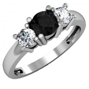 1.00 Carat (ctw) 18k White Gold Round Black and White Diamond Ladies 3 Stone Bridal Engagement Ring 1 CT