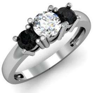 1.00 Carat (ctw) 10k White Gold Round White and Black Diamond Ladies 3 Stone Bridal Engagement Ring 1 CT