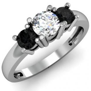 1.00 Carat (ctw) 14k White Gold Round White and Black Diamond Ladies 3 Stone Bridal Engagement Ring 1 CT