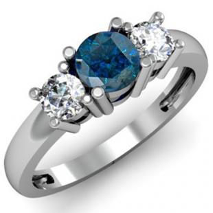 1.00 Carat (ctw) 18k White Gold Round Blue and White Diamond Ladies 3 Stone Bridal Engagement Ring 1 CT