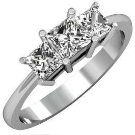 1.50 Carat (ctw) 18K White Gold Princess Cut White Cubic Zirconia Ladies Bridal 3 Stone Engagement Ring 1 1/2 CT