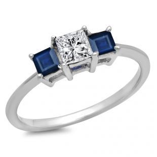 1.00 Carat (ctw) 10k White Gold Princess Cut White Diamond and Blue Sapphire Ladies Bridal 3 Stone Engagement Ring 1 CT