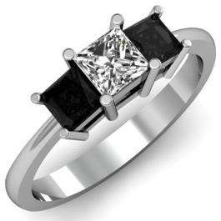 1.00 Carat (ctw) 10k White Gold Princess Cut White and Black Diamond Ladies Bridal 3 Stone Engagement Ring 1 CT
