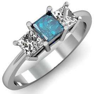 1.00 Carat (ctw) 14k White Gold Princess Cut Blue and White Diamond Ladies Bridal 3 Stone Engagement Ring 1 CT