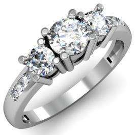 1.00 Carat (ctw) 14k White Gold Round Diamond Ladies 3 Stone Engagement Bridal Ring 1 CT