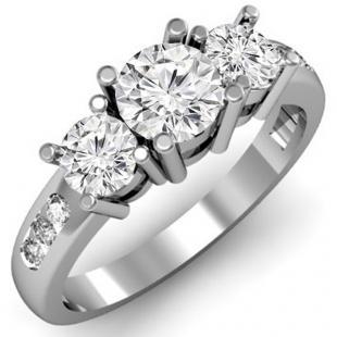 1.50 Carat (ctw) 14k White Gold Round Diamond Ladies 3 Stone Engagement Bridal Ring 1 1/2 CT