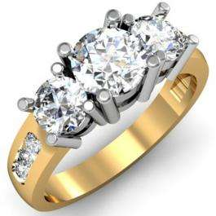 2.00 Carat (ctw) 18K Yellow Gold Round Diamond Ladies 3 Stone Engagement Bridal Ring 2 CT