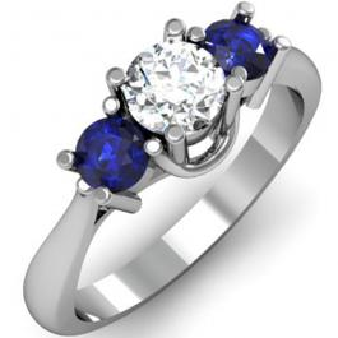 1.00 Carat (ctw) 18k White Gold Round White Diamond and Blue Sapphire Ladies 3 Stone Bridal Engagement Ring 1 CT